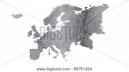 Gray Europe Map