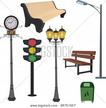City objects: dustbin, lamppost,street hours, traffic light, bench