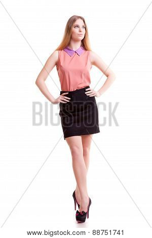 Young Businesswoman Full Body Over White Background
