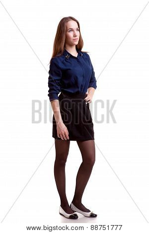 Young Student Looking Away Full Body