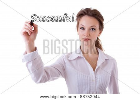 Smiling Businesswoman Witing Successful In Virtual Space