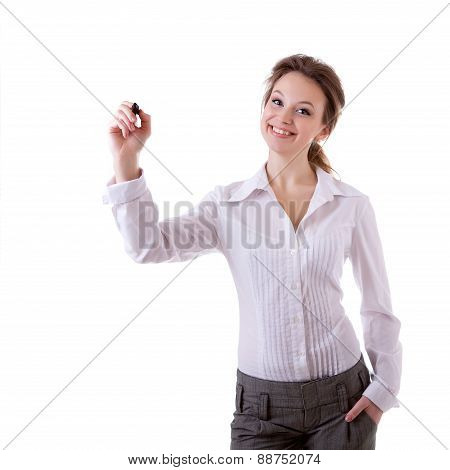 Smiling Businesswoman Witing In Virtual Space