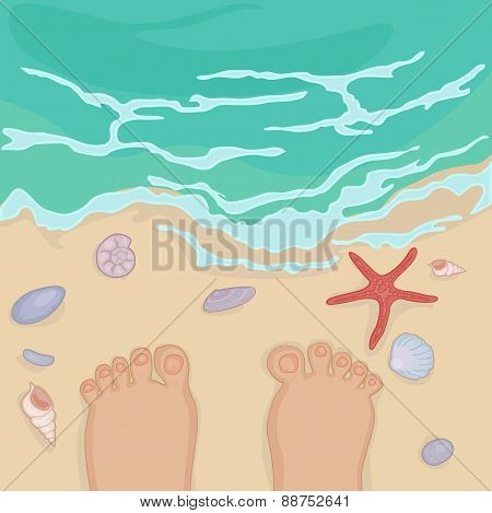 feet of a man standing on the sea shore