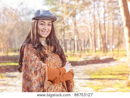 Happy Young Woman Outdoor Winter Fall