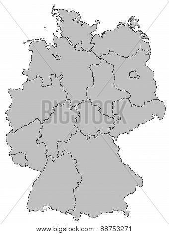 Germany Map - Provinces Gray