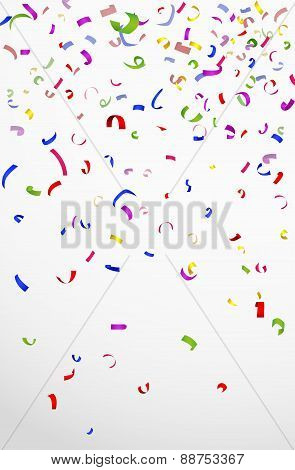 Colorful confetti on white background for celebration