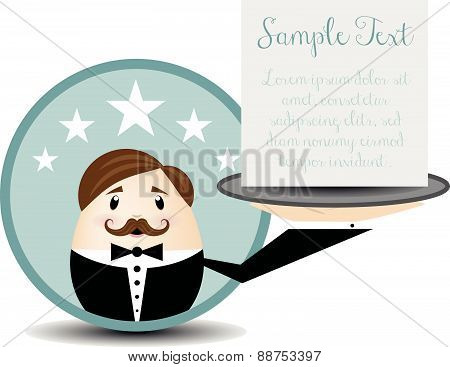 waiter vector cartoon