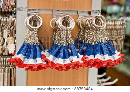 Eiffel Tower Key Rings  In A Souvenir Shop, Paris