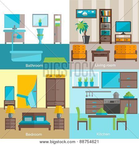 Interior rooms furnishing 4 flat icons