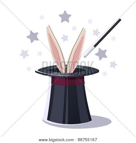 Magic top hat with rabbit.