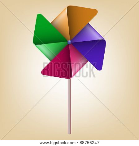 Colorful Pinwheel Windmill Vector Illustration