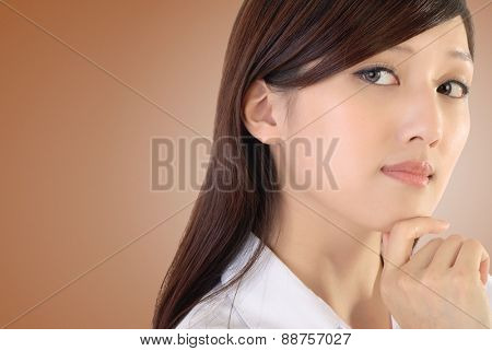 Confident expression on successful businesswoman of Asian on white background.