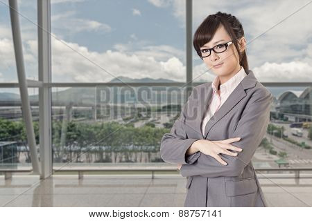 Asian business young woman look at you, closeup portrait isolated on white background.
