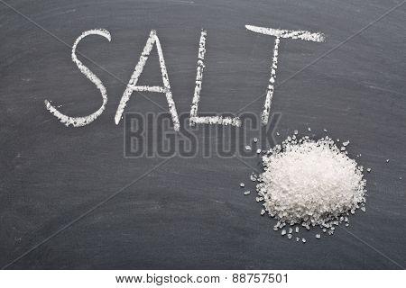 the white salt on chalkboard