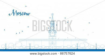 Outline Kremlin Spasskaya tower with clock on Red Square, Moscow, Russia. Vector illustration