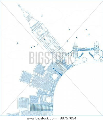 Outline London panorama with big Ben and skyscrapers Vector illustration with place for text
