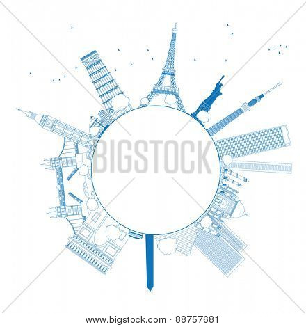 Outline Famous monuments and landmarks around the world. Vector illustration with copy space