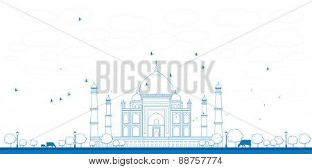 Outline Taj Mahal with Tree and cow. Front view Vector illustration
