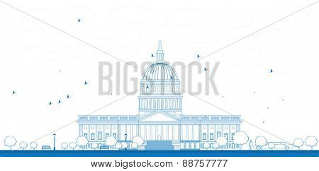 Outline Washington DC Capitol landscape, USA Vector illustration