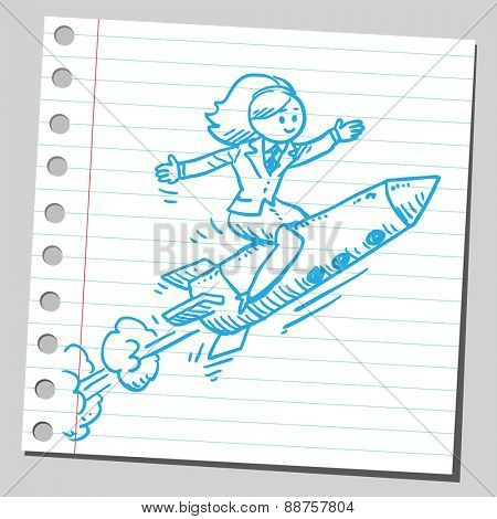 Businesswoman flying on rocket