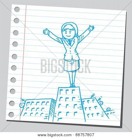 Businesswoman stand on top of building