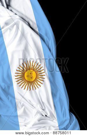Argentine waving flag on black background