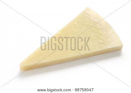 pecorino romano, hard italian sheep milk cheese isolated on white background