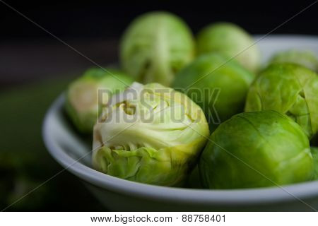 Brussels Sprouts On Wood Table