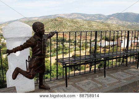 Statue overlooking countryside, Priego de Cordoba.
