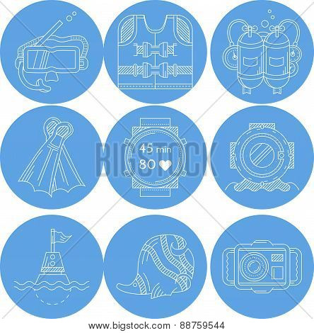 Diving sport icons vector collection