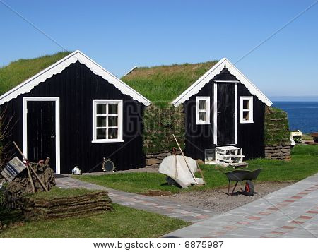 Traditional Grass-roof Houses In Iceland