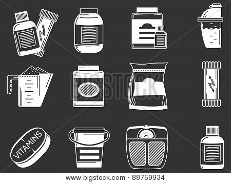 Sports supplements white vector icons