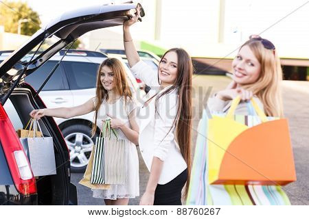 Group of girls after shopping