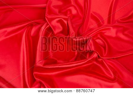 Red silk drapery with heart.