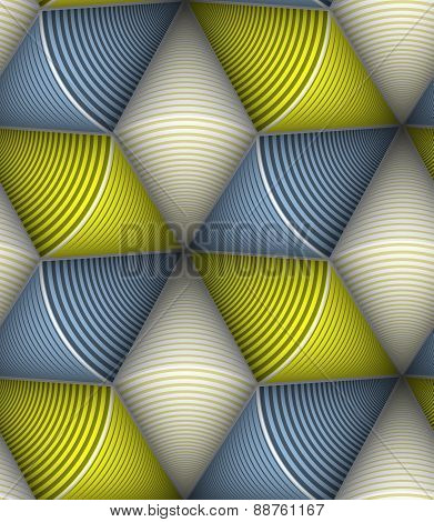 Striped Circle Cone 3D Seamless Vector Seamless Pattern. Fall Co