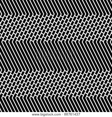Diagonal Bricks And Stripes Black White Vector Seamless Pattern.