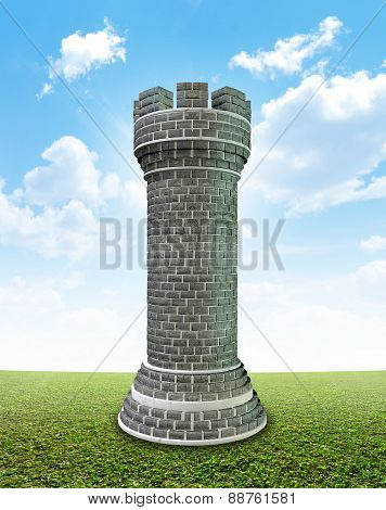 Brick Castle On Grass