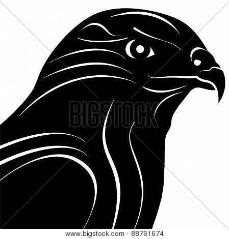 Hawk Eagle Head Silhouette Vector Illustration.