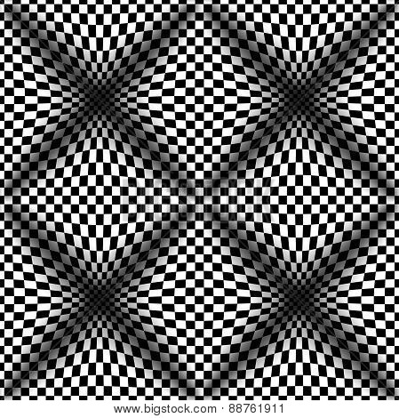 Op Art Halftone Bulge Black White, Vector Seamless Pattern
