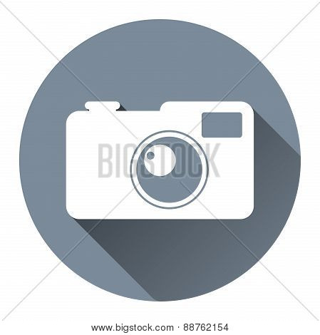 Hipster Photo Camera Icon Flat Design Style, Circle Frame, Long