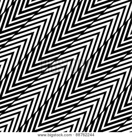 Abstract Black and White Herringbone Illusion Vector Seamless Pa