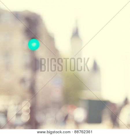 Blurred image of abstract urban scene. Vintage style.