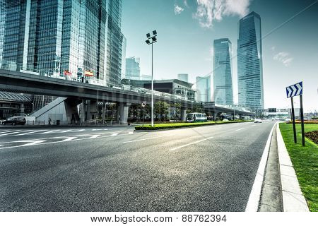 urban road and modern city skyline