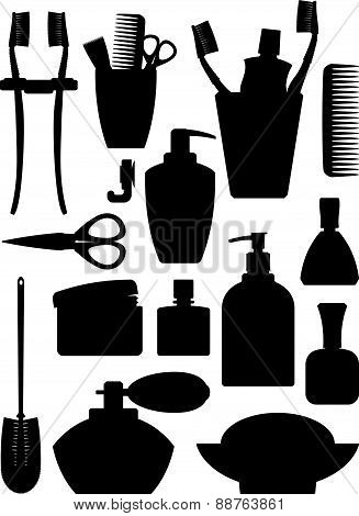 Set Of Vector Silhouette Of Bathrom Accessories