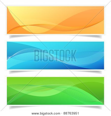 Abstract Banner Set Shadow Effect