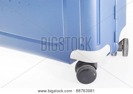 Blue Suitcase on Wheels