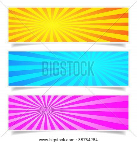 Sunburst Background Banner Set