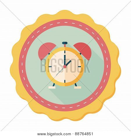 Alarm Clock Flat Icon With Long Shadow,eps10