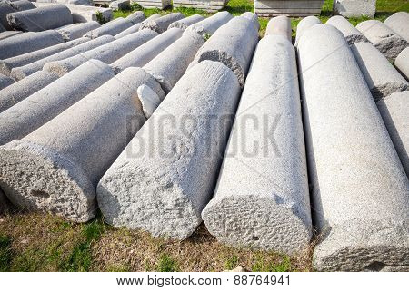 A Lot Of Ancient Columns Lay In A Row. Smyrna. Izmir, Turkey