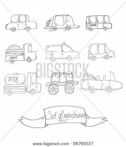 collection of doodle transportation vehicles